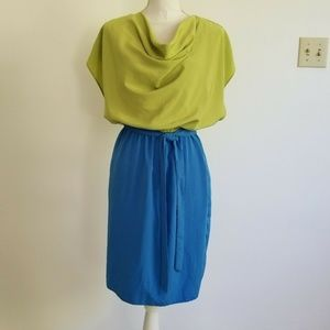 Cato 6 Dress Blue Green Cowl Neck Blouson Bodice